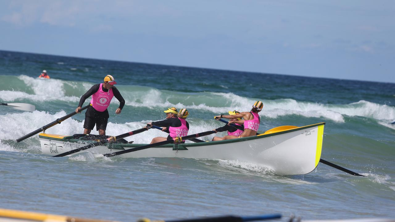 Competitors take part in the final day of the Queensland State Surf Life Saving Championships at Tugun Beach. Picture: Mike Batterham