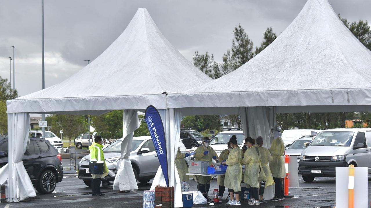 Drive -through COVID testing at Byron Bay's Cavanbah Centre on Tuesday, March 30.