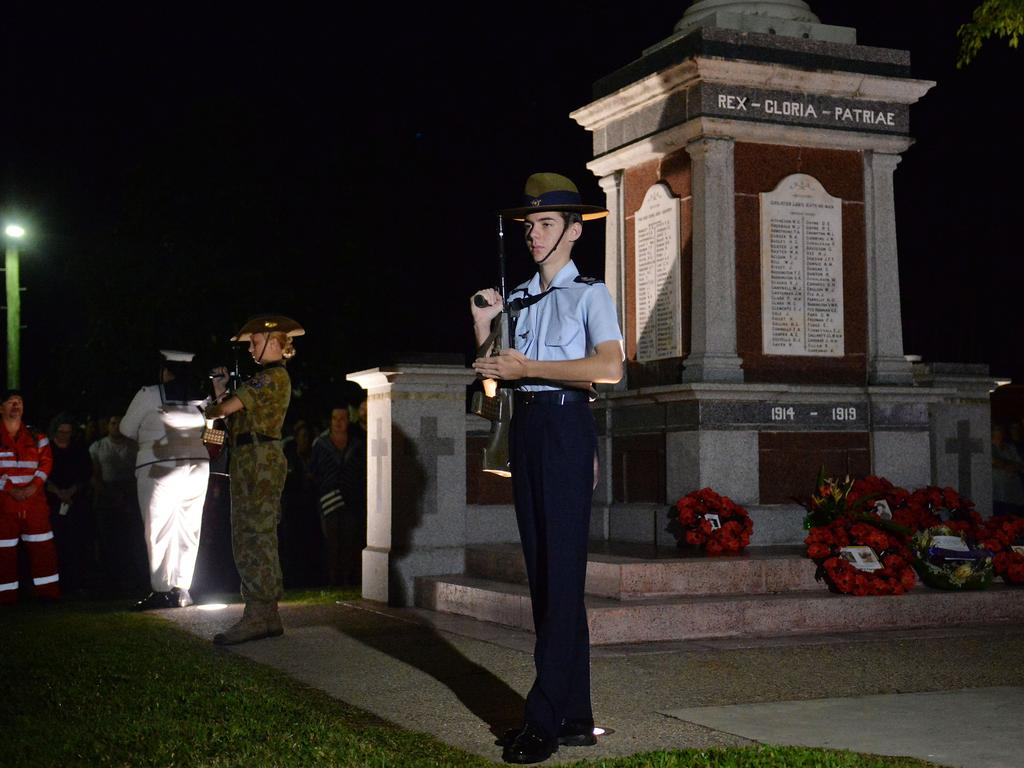 Airforce Cadet CFSGT Douglas Pridmore stands guard at the cenotaph at Jubilee Park for a Dawn Service in Mackay.