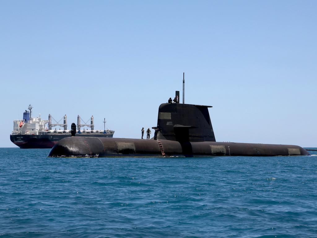 Collins Class submarine HMAS Sheean in the water off Western Australia.