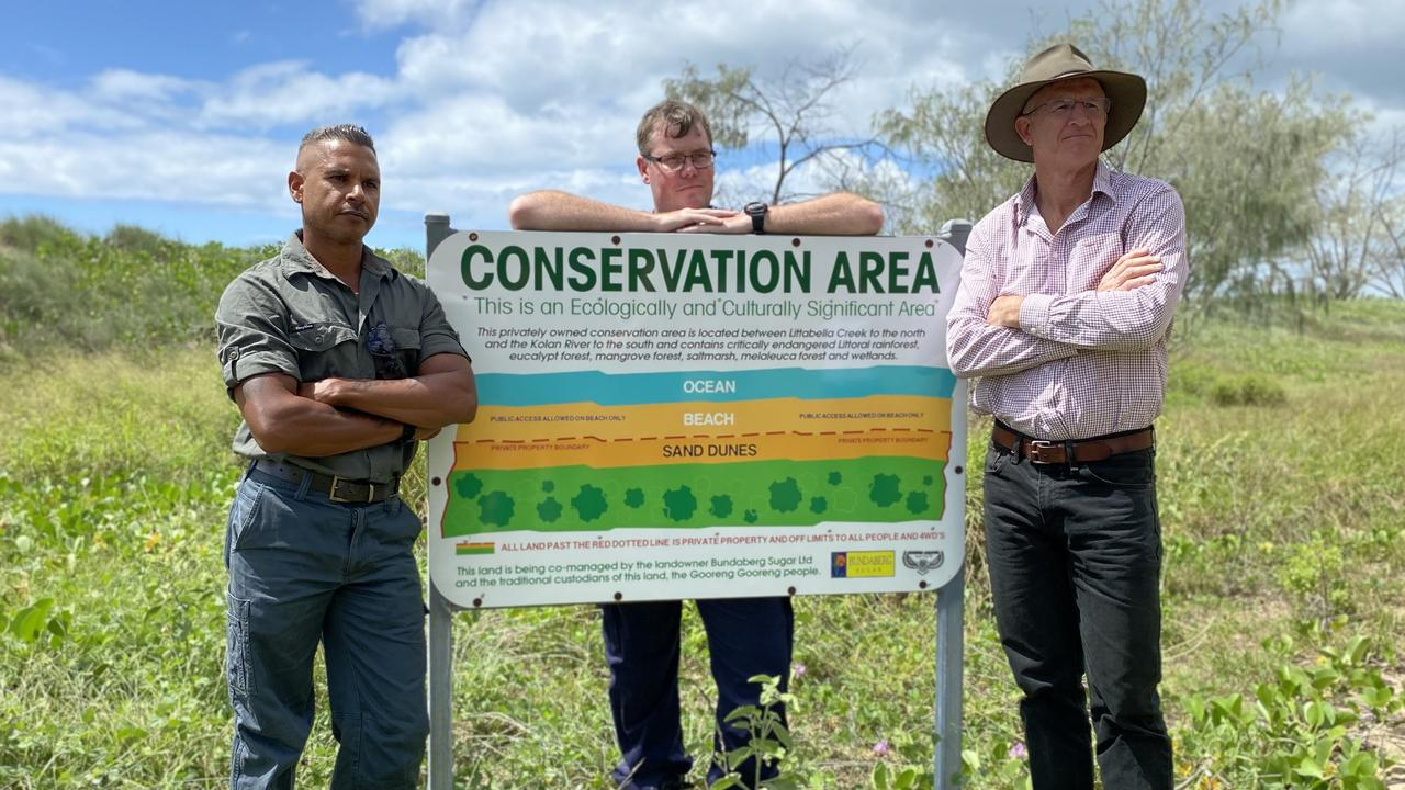Officer in Charge of South Kolan Police Matt Swan, traditional owner Everett Johnson and Bundaberg Sugar general manager of farms Simon Doyle said it was frustrating to see people trespassing, stealing and even cutting trees on the private property.