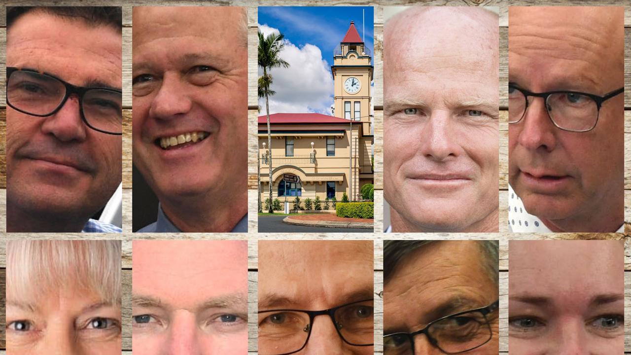 Gympie Regional Councillors (clockwise from left) Bruce Devereaux, Warren Polley, Town Hall, Mayor Glen Hartwig, Bob Fredman, Jess Milne, Deputy Mayor Hilary Smerdon, Dan Stewart, Shane Waldock and Dolly Jensen.