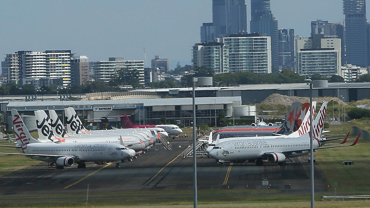 Planes parked at Brisbane Airport during the COVID-19 pandemic. Picture: Richard Waugh