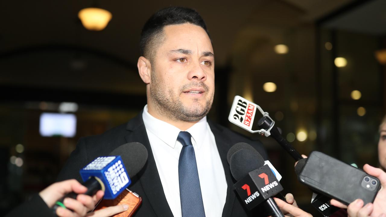 Jarryd Hayne leaves court after being found guilty of sexual assault