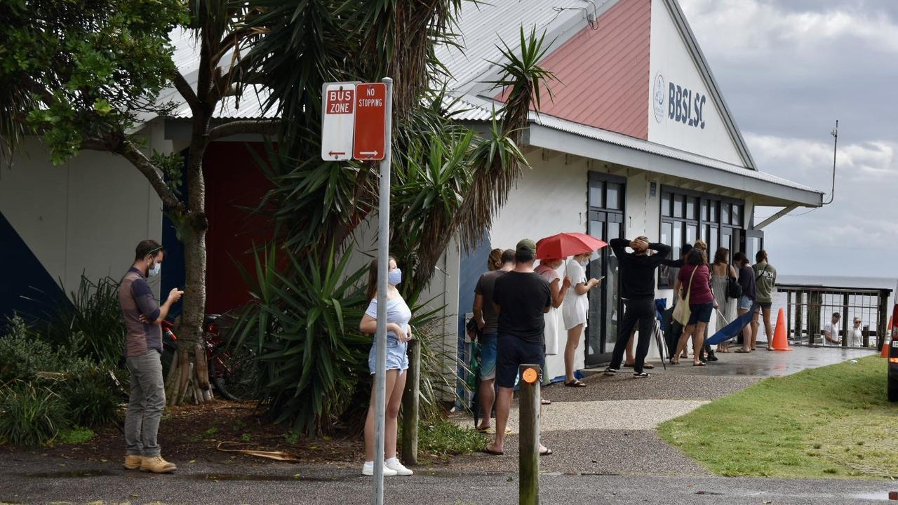 People waiting to be tested at the COVID pop up clinic at the Byron Bay Surf Club near Main Beach on Tuesday, May 30, 2021.