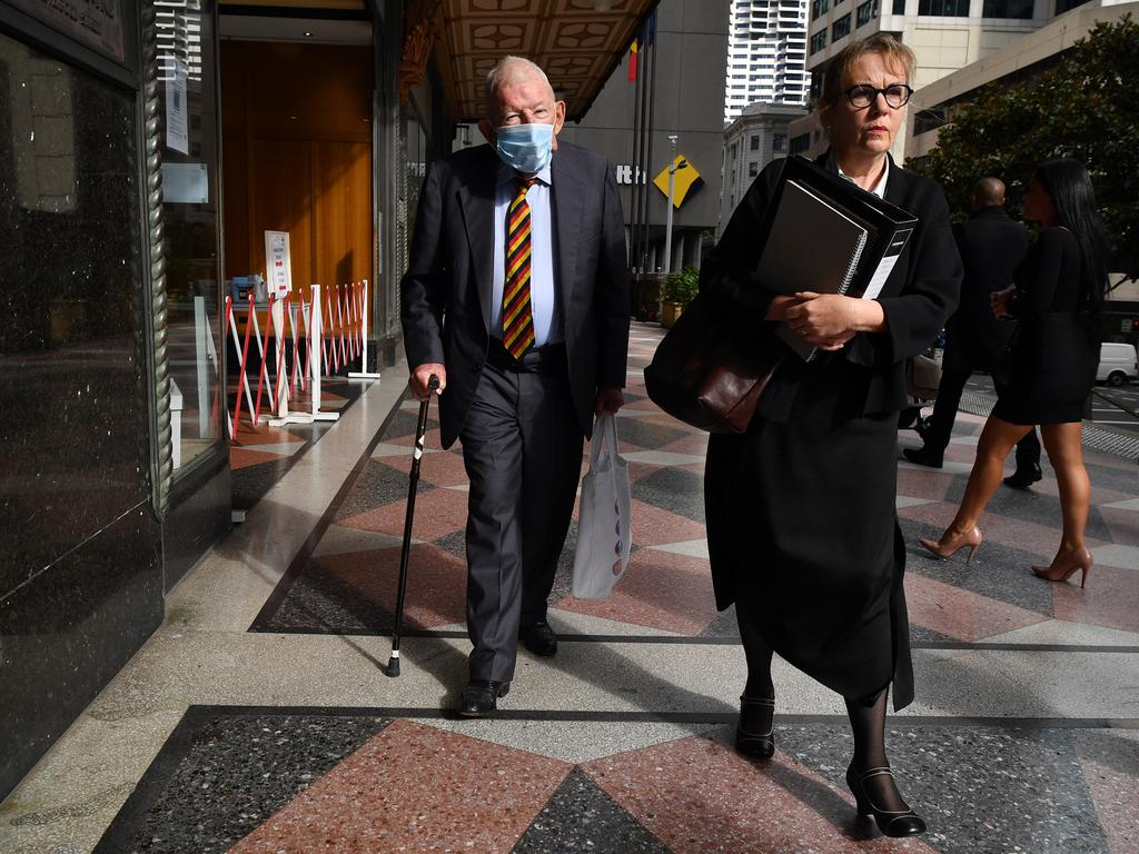 Sir Ron Brierley (left) leaves court with lawyer Penny Musgrave on Thursday. Picture: NCA NewsWire/Joel Carrett