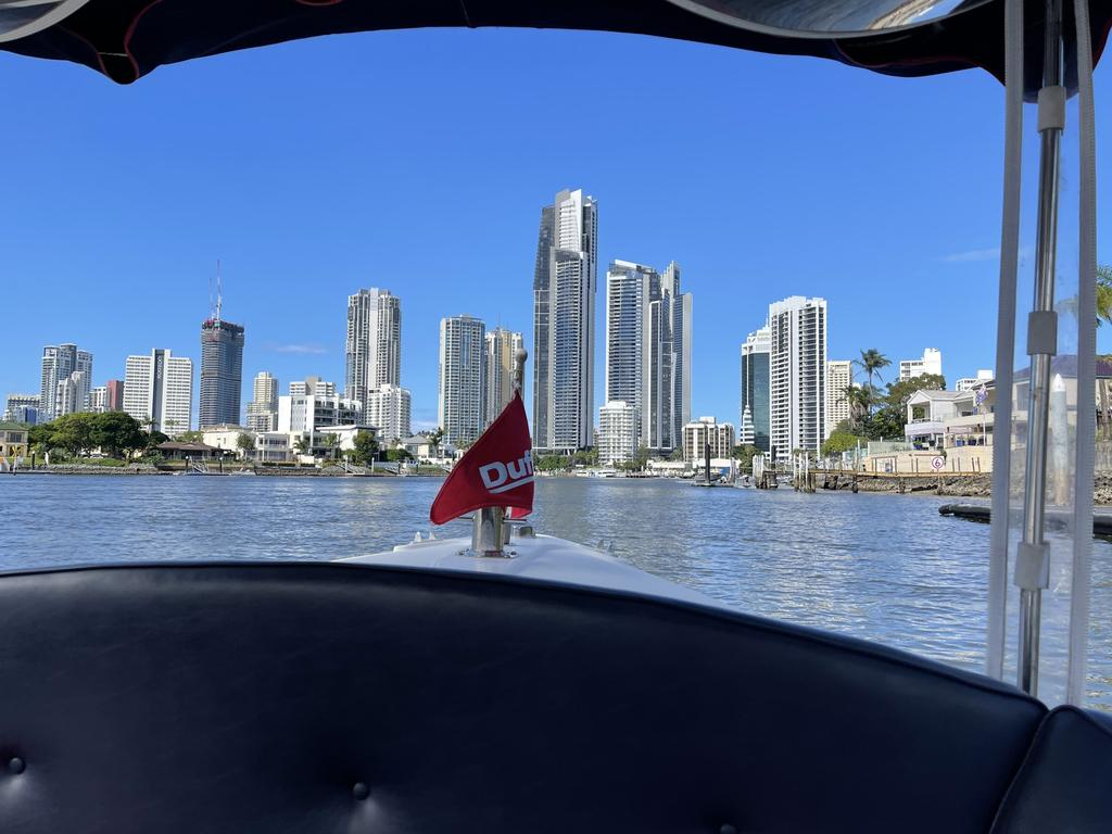 The Surfers Paradise skyline as seen from the bow of a Duffy's Down Under electric boat. Picture: Logan O'Brien