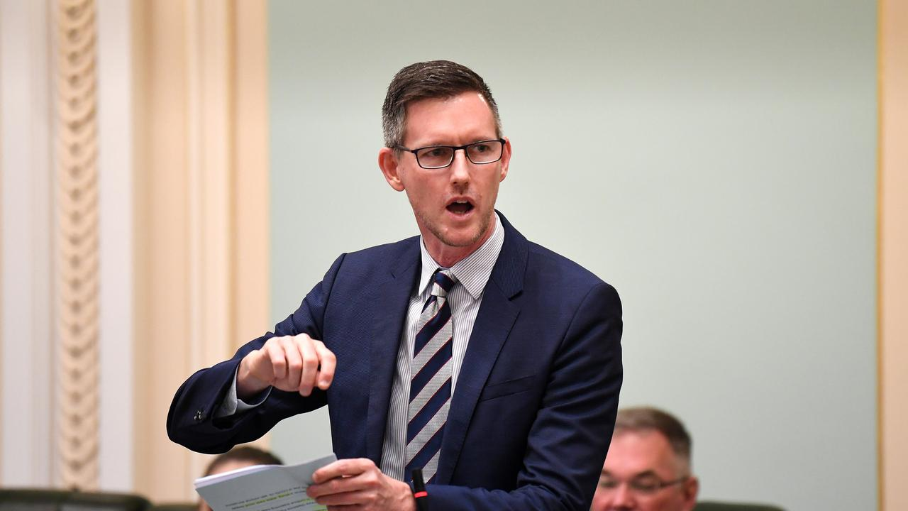 BRISBANE, AUSTRALIA - NewsWire Photos - MARCH 25, 2021. Queensland Transport Mark Bailey speaks during Question Time at Parliament House in Brisbane. Picture: NCA NewsWire / Dan Peled