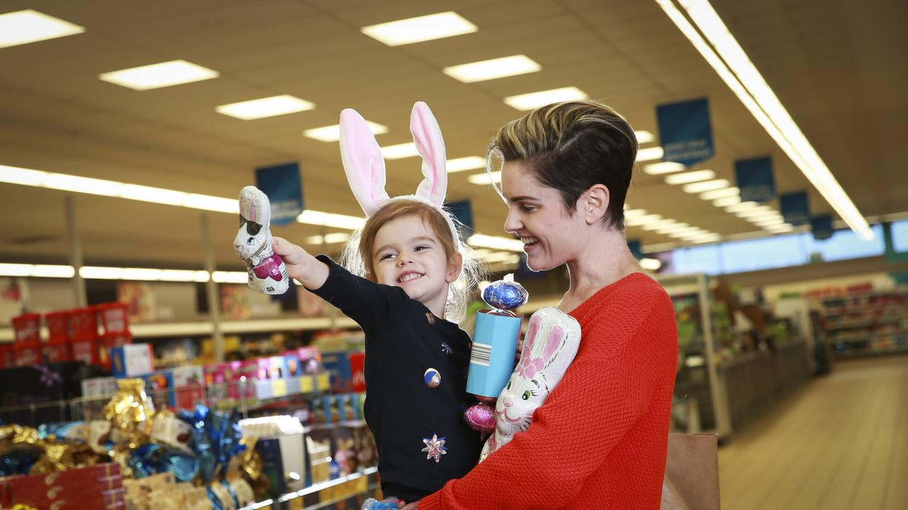 Bridie Bromwich with her daughter Lucy, 2, does some Easter shopping at Aldi. Picture: Dylan Robinson