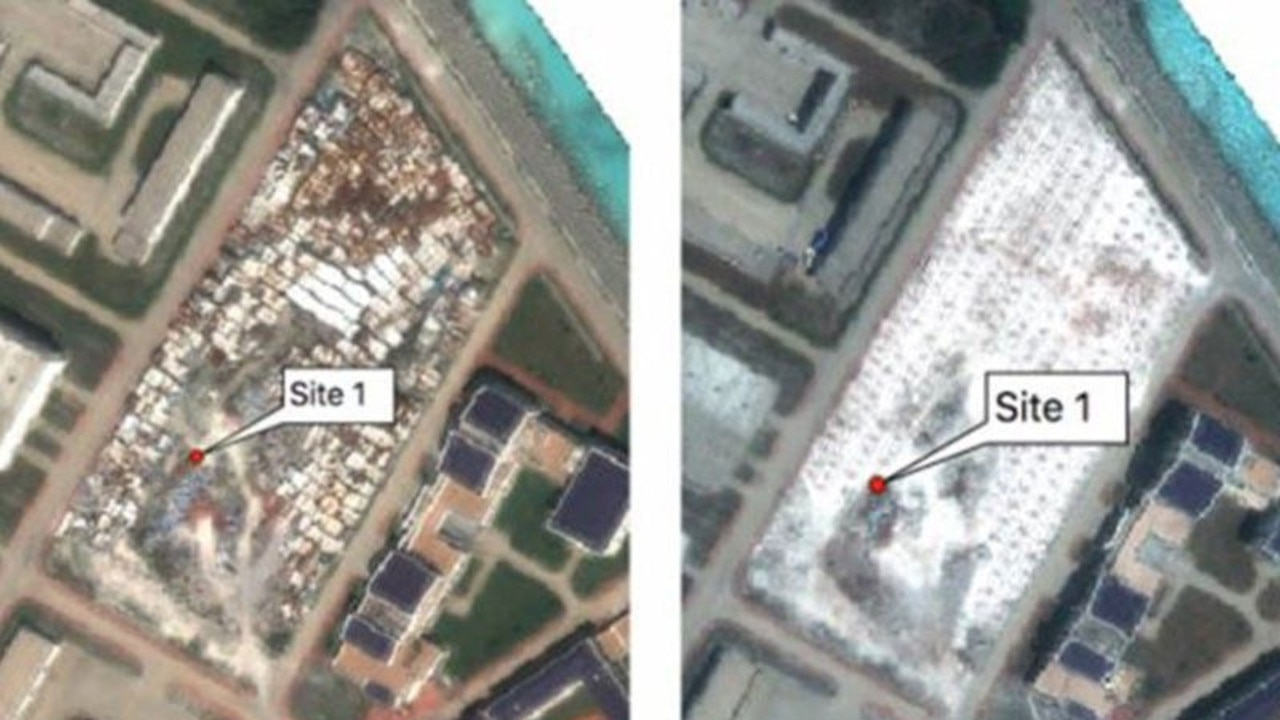 A satellite image by Simularity shows significant construction activity by China on Subi Reef. Picture: Simularity /CNES