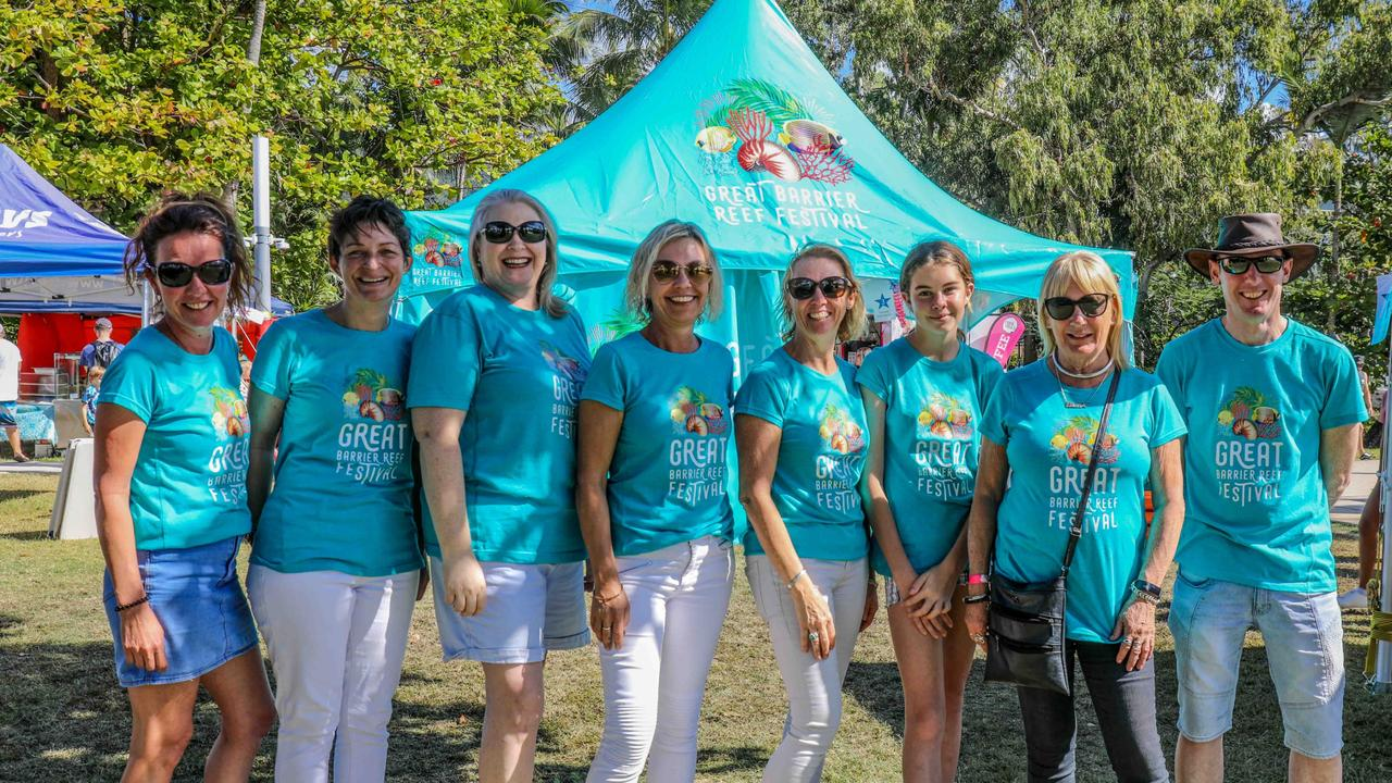 Members of a previous Great Barrier Reef Festival committee (from left) Lisa Stockow, Kirsten Orenshaw, Fiona Van Blarcom, Margie Murphy, Heather Batrick, Lily Tarver, Ellen Kerr and Brian Duell. Photo: Vampp Photography