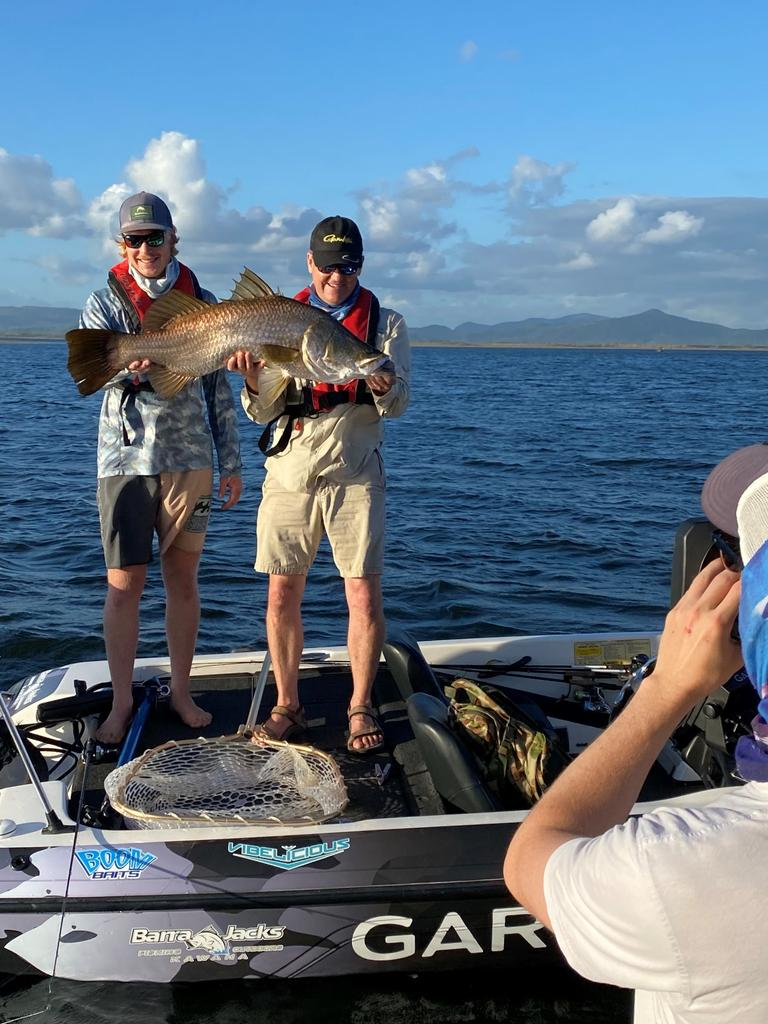 Fishing Australia's Rob Paxevanos (left) in Mackay in December 2020 filming an episode. Picture: Contributed