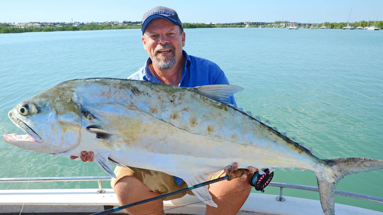 Steve Starling with 130cm, 16kg queenfish caught on fly rod in Darwin Harbour