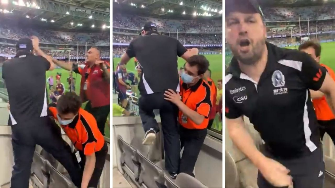 Security were working overtime after the Pies lost after the siren. Source: @JacquiReed_ Twitter