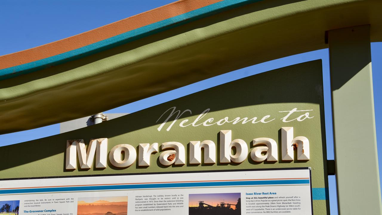 The Moranbah welcome sign on the way to town. Picture: Rae Wilson