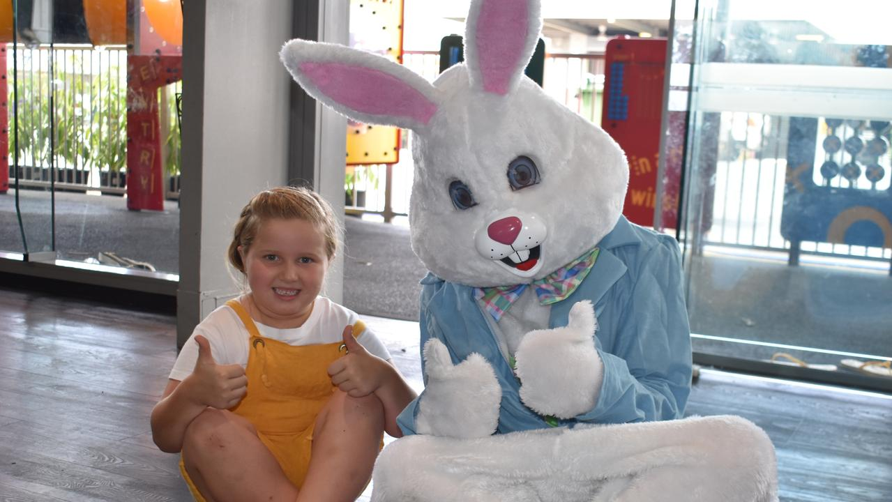 MACKAY EASTER: Chloe Knight, 5, with the Easter bunny. Picture: Melanie Whiting