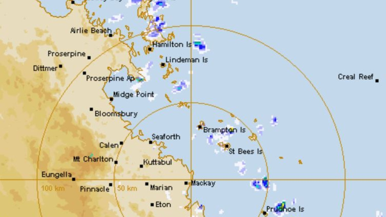 The weather radar for Mackay as at 10.30am Saturday.