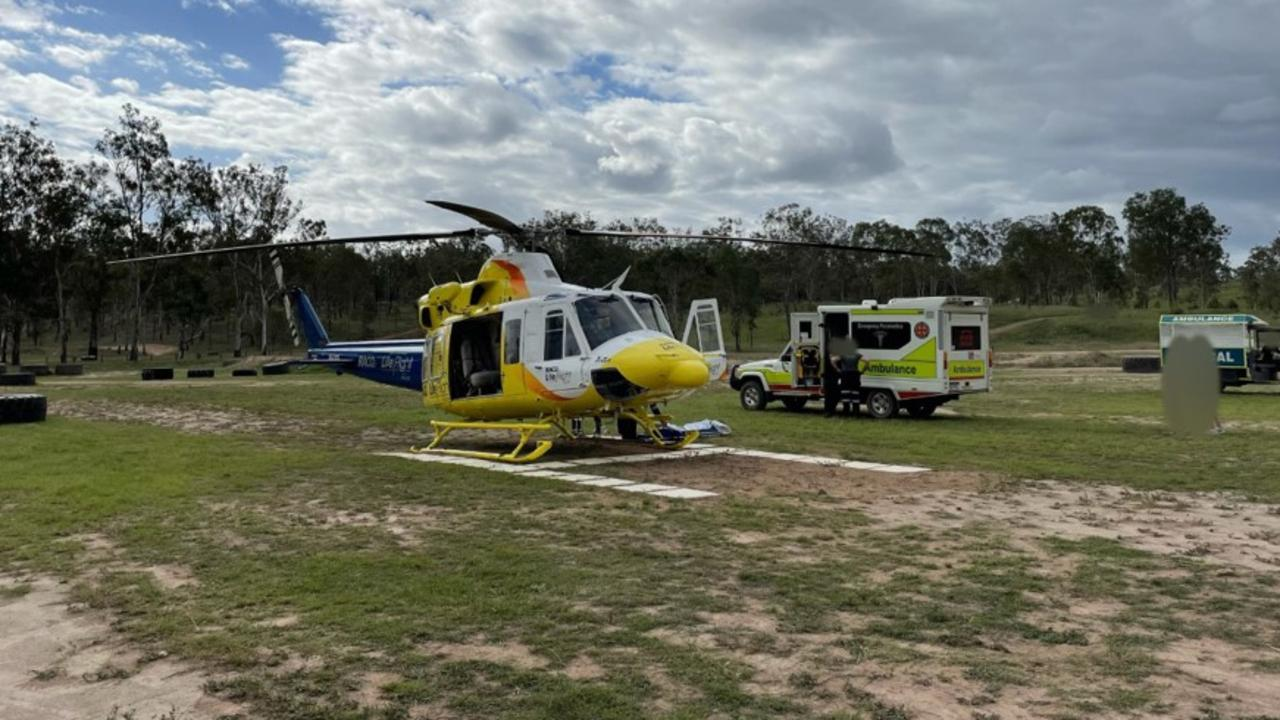 The Bundaberg-based RACQ LifeFlight Rescue helicopter flew a man to hospital, after he was injured in a motorbike crash. Photo: RACQ LifeFlight Rescue