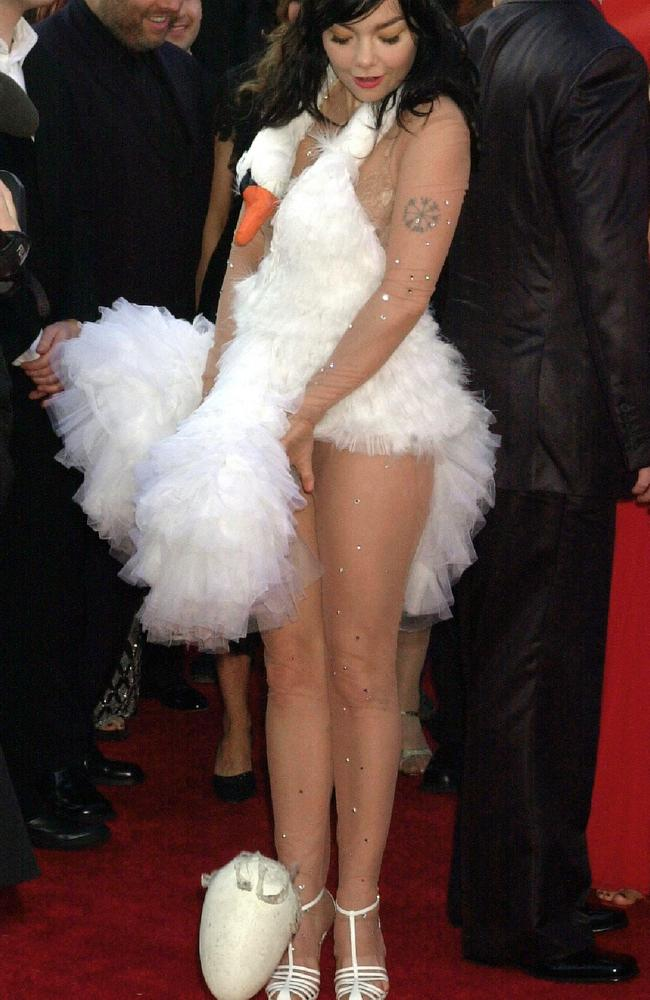 Nothing to see here, just an Icelandic pop star laying an egg on the Oscars red carpet.