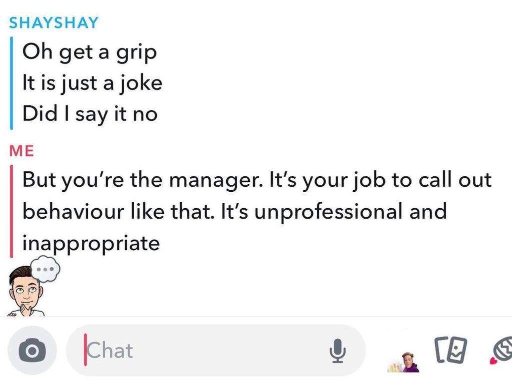 The messages on snapchat between manager and staff.