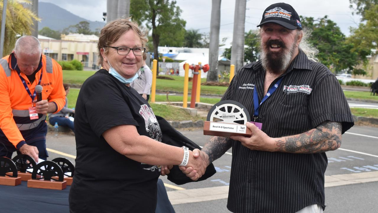 Julie Clark won the Best Harley Davidson Sportster at the Harley Owners Group Chapter Challenge Award Presentation, pictured with bike awards judge Doc Robinson.