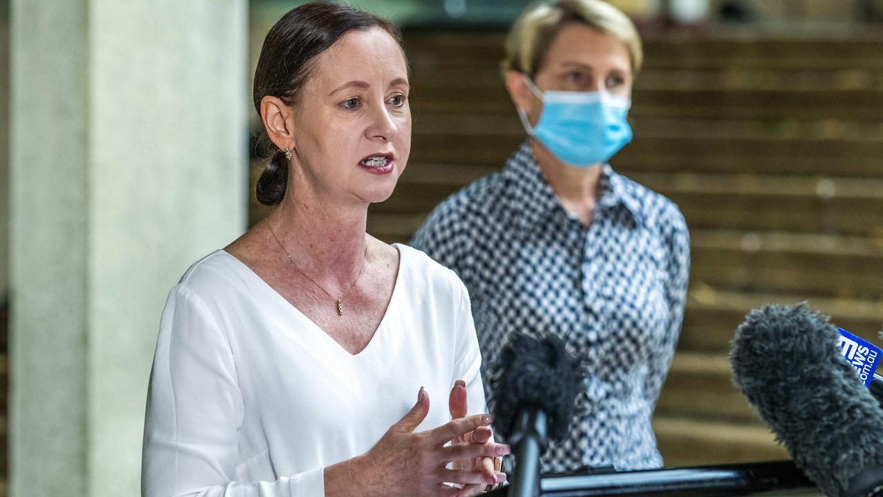 Queensland Health Minister Yvette D'Ath and her Deputy Chief Health Officer, Dr Sonya Bennett. Photo: Richard Walker.