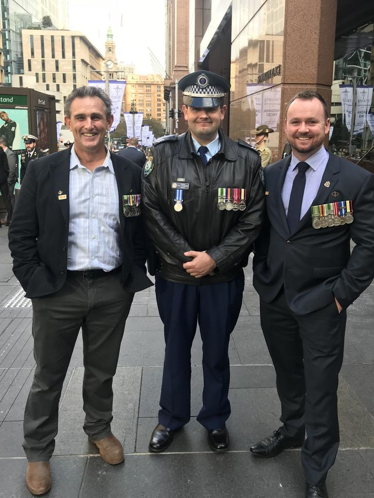 NSW Sergeant Paul James (centre) pictured with former 2nd Commando Regiment Warrant Officer Class Two (WO2) Peter Richards and ex 2nd Commando Regiment Private Mick Bainbridge. Mick Bainbridge is Sergeant James' business partner at Operation Legal Australia. Picture: Contributed