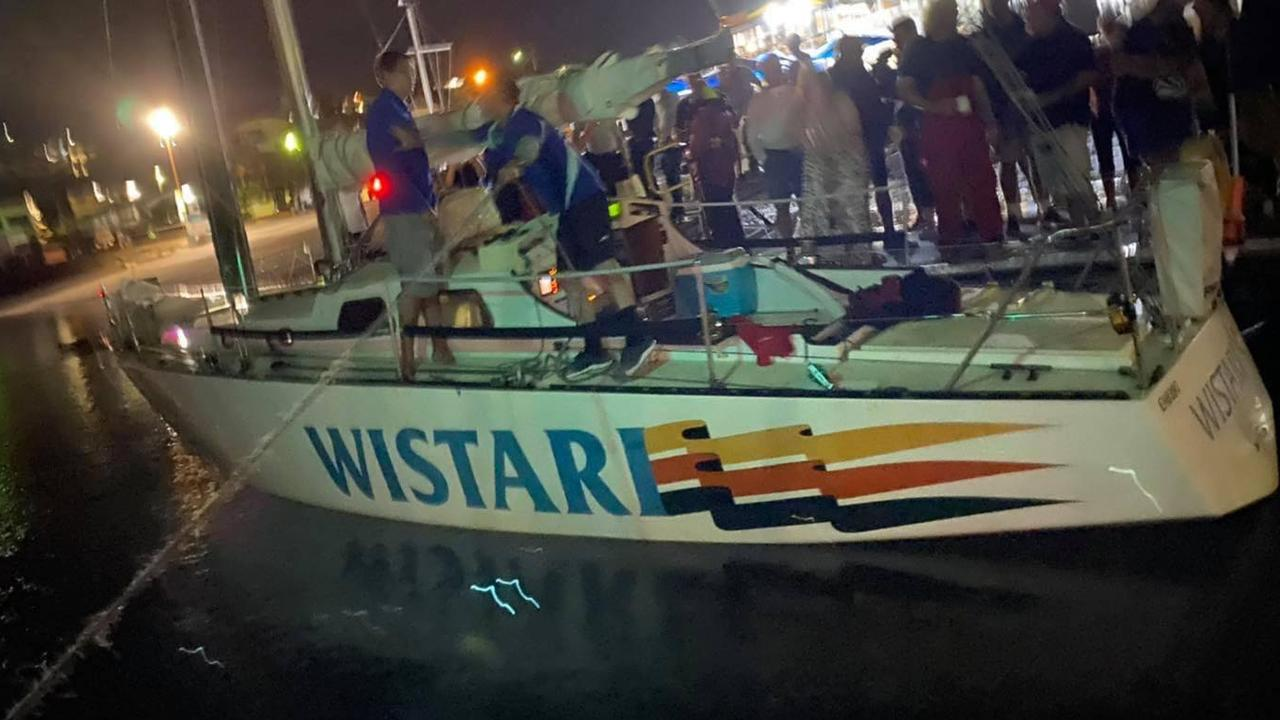 Wistari just minutes after docking at the Gladstone Yacht Club following its completion of the Brisbane to Gladstone Yacht Race.