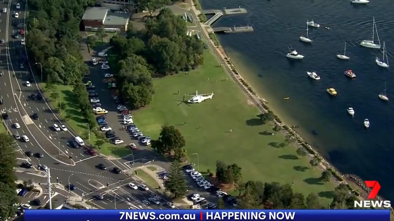 The young boy was taken to hospital after being pulled from the water by bystanders.