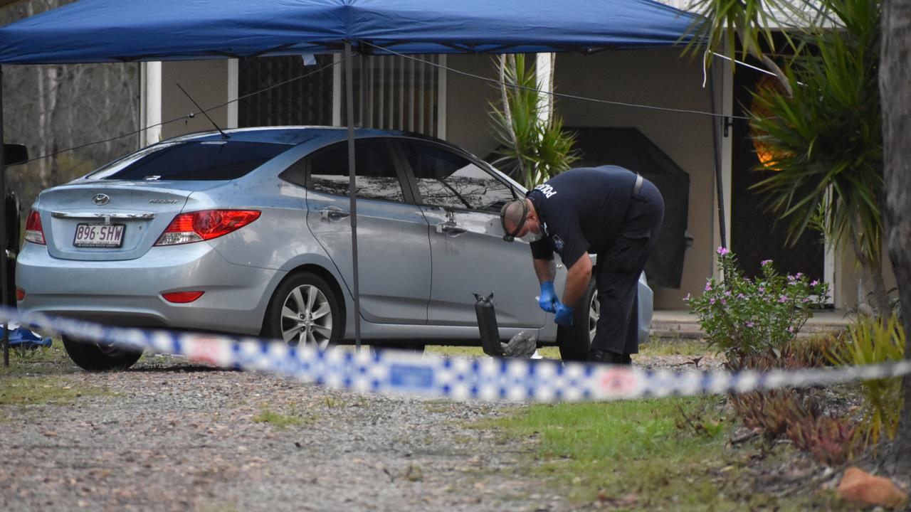 Police investigating at the scene of a homicide in Pacific Haven Drive on April 3. Photo: Stuart Fast
