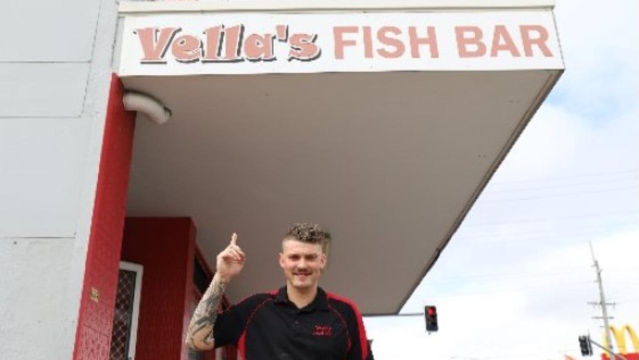 Vella's Fish Bar staff member Jay Ashford outside the shop. PICTURE: Ashley Pillhofer