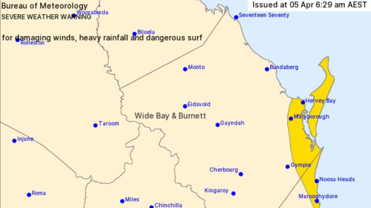 BOM severe weather warning includes parts of the Gympie region, forecasting strong winds, heavy rain and dangerous surf.