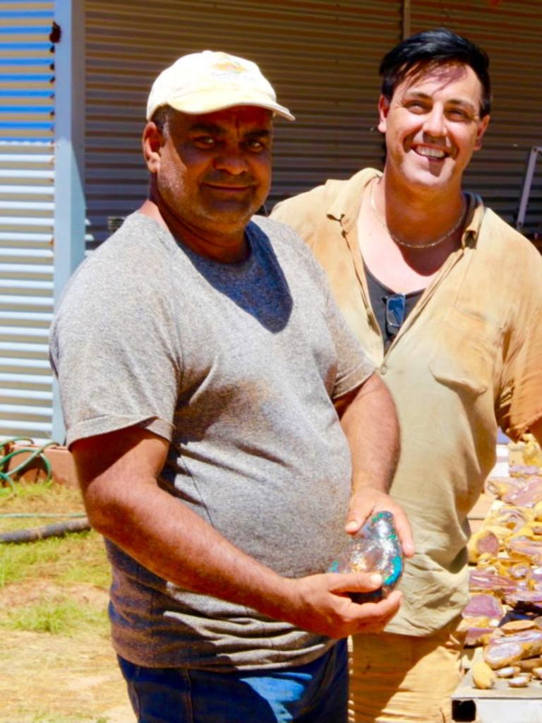 The Opal Whisperer Isaac Andreou and David Darby (right) in Yowah, outback Queensland.