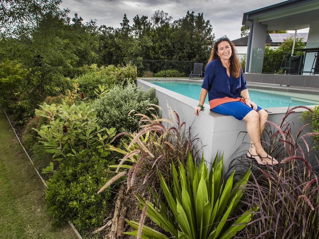 Lisa Mercer in her garden. Picture: Nigel Hallett