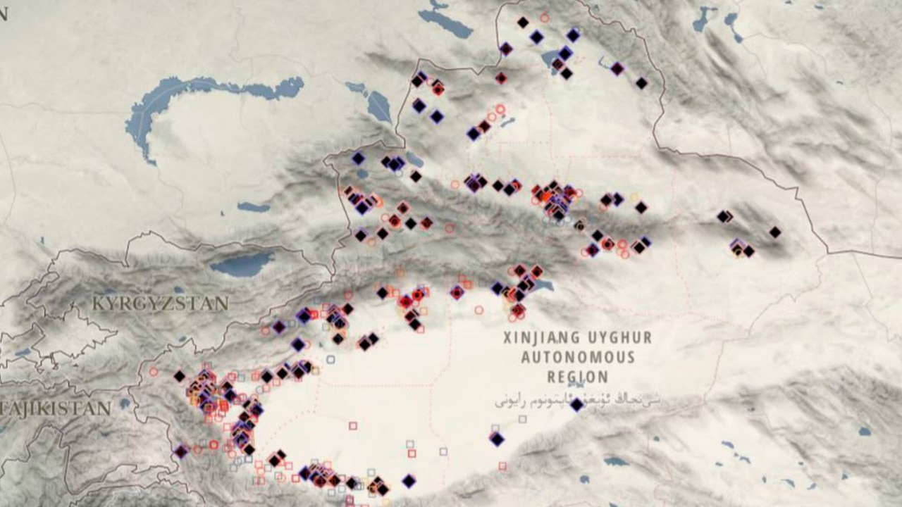 A map of some of China's 're-education' camps, part of a vast network of facilities in the northwestern Xinjiang province. Picture: Australian Strategic Policy Institute
