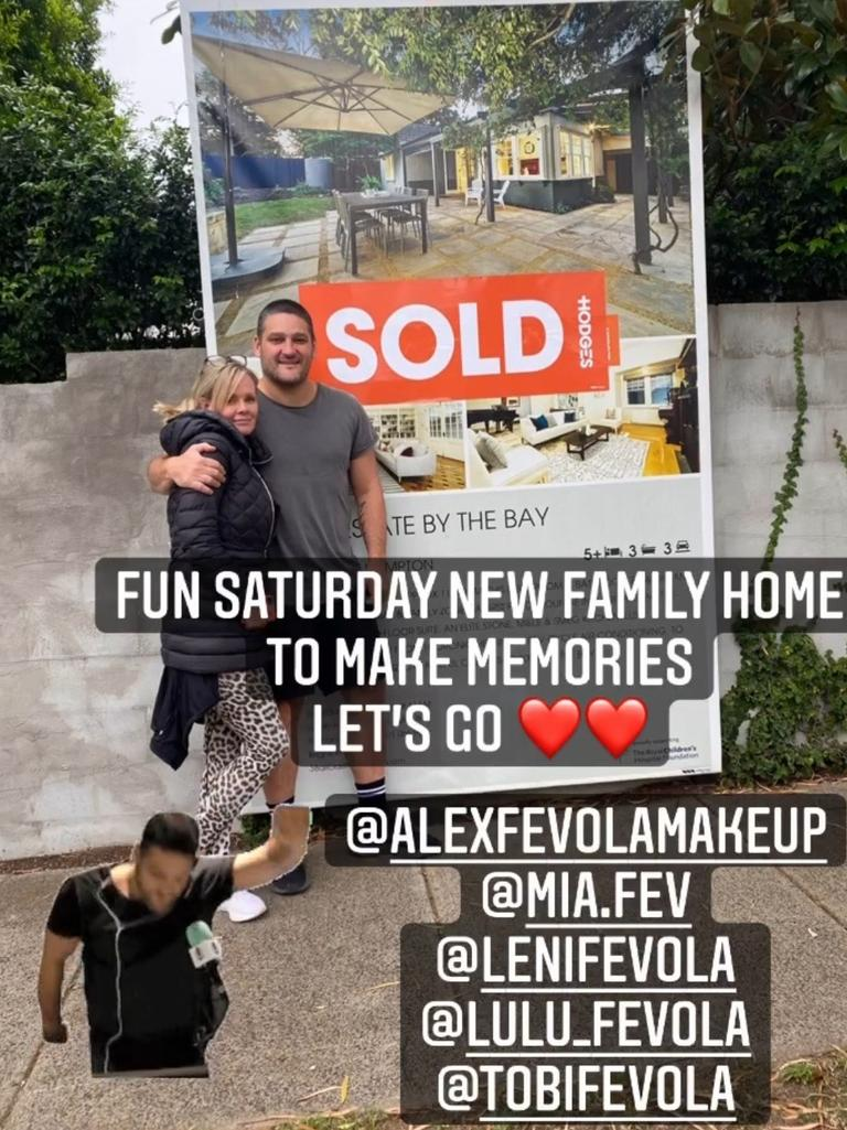 Brendan Fevola shared this pic on Instagram about the purchase of his new Hampton family home.