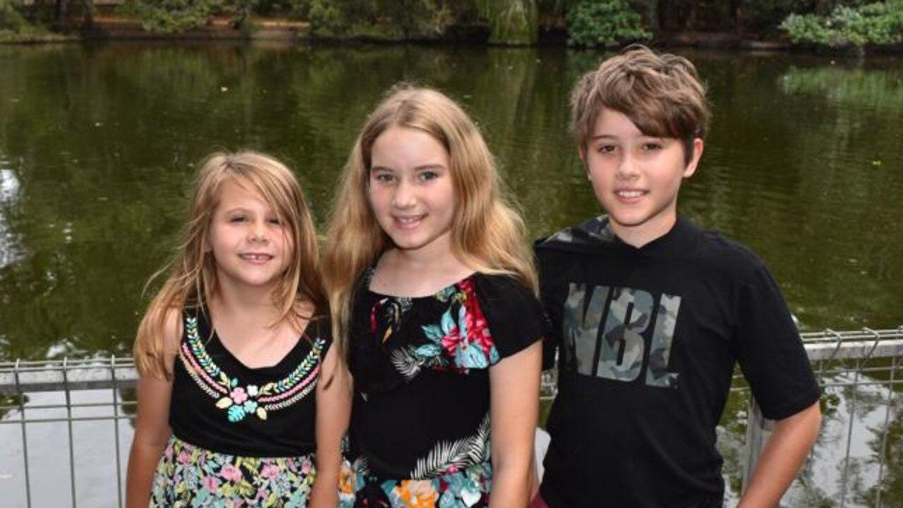 Lily Kingston, Izzy Bainbridge and Noah Bainbridge at the Botanic Gardens in Bundaberg. Picture: Rhylea Millar