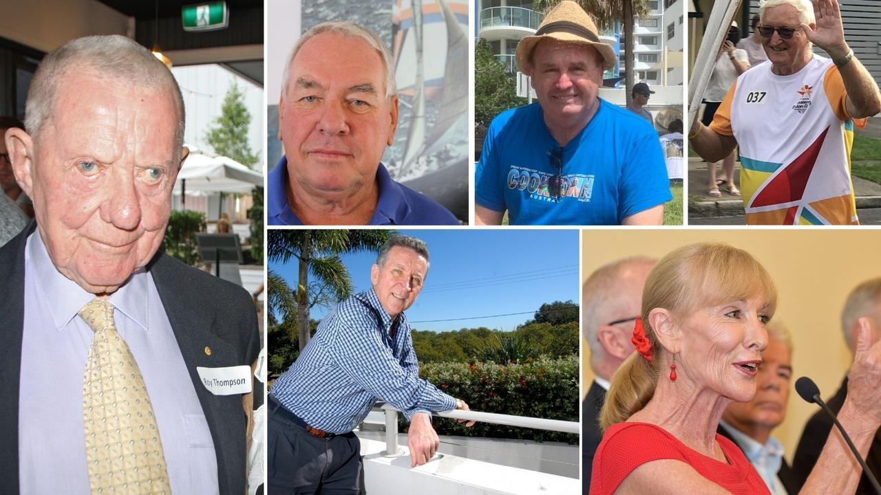 Prominent Coast figures, clockwise from far left, Roy Thompson, Ken Down, Benny Pike, Ian Jobling, Alison Barry-Jones and Rod Forrester have all thrown their support behind a push to secure a convention centre in the new Maroochydore CBD as part of the 2032 Olympic Games bid.