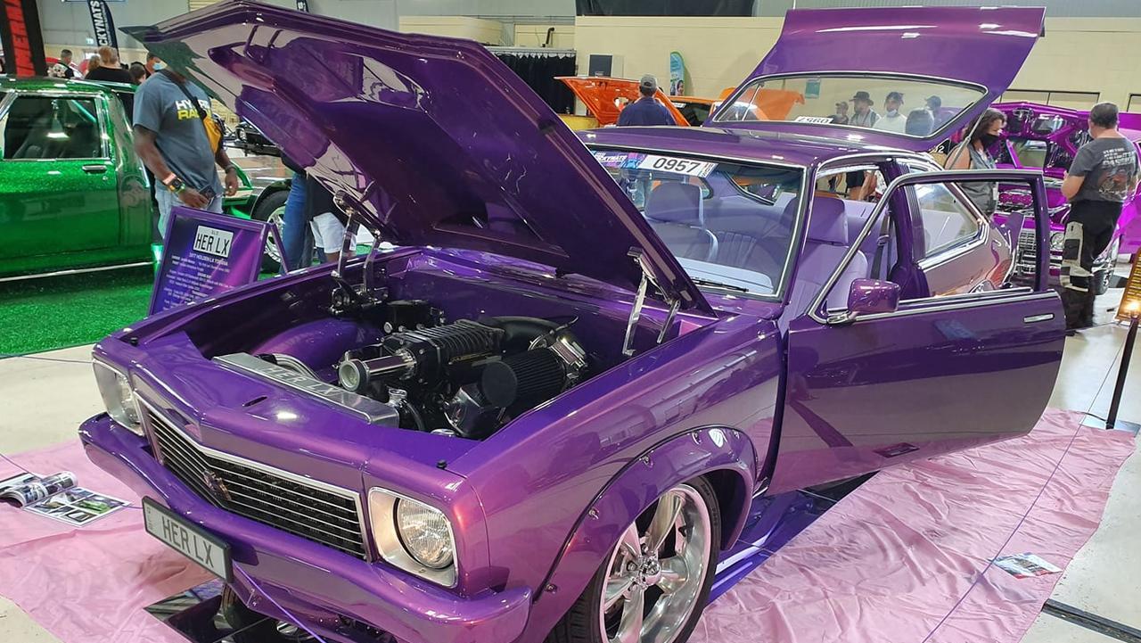 The shiny purple LX Torana in all of its glory.