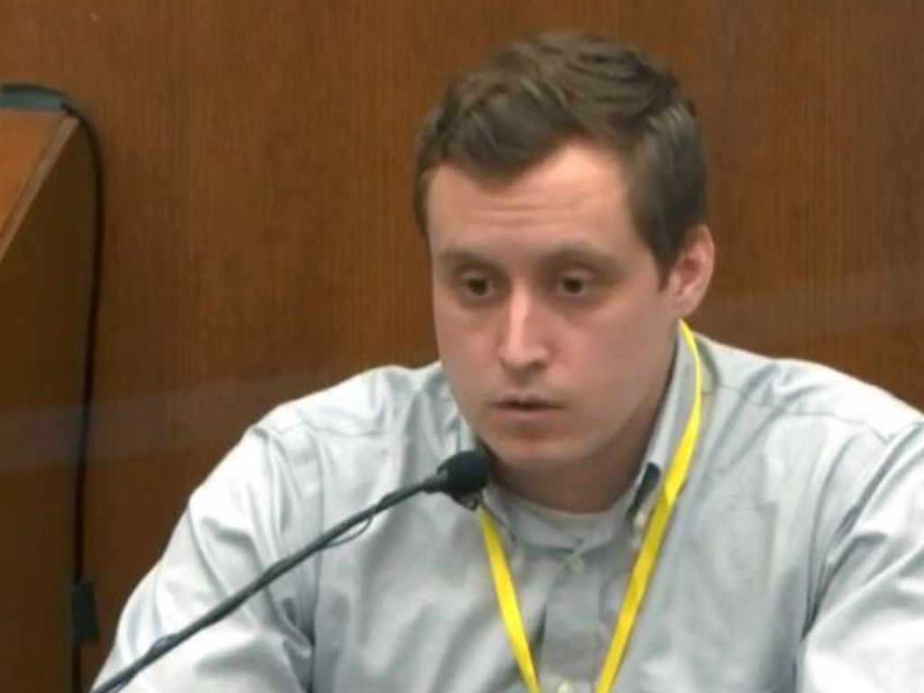 Dr Bradford Langenfeld testifies at the trial of Derek Chauvin. Picture: Supplied