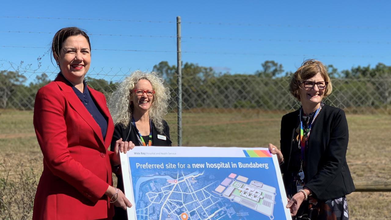 Premier Annastacia Palaszczuk, WBHHS board chair Peta Jamieson and chief executive Deborah Carroll at the preferred site for the new Bundaberg Hospital.