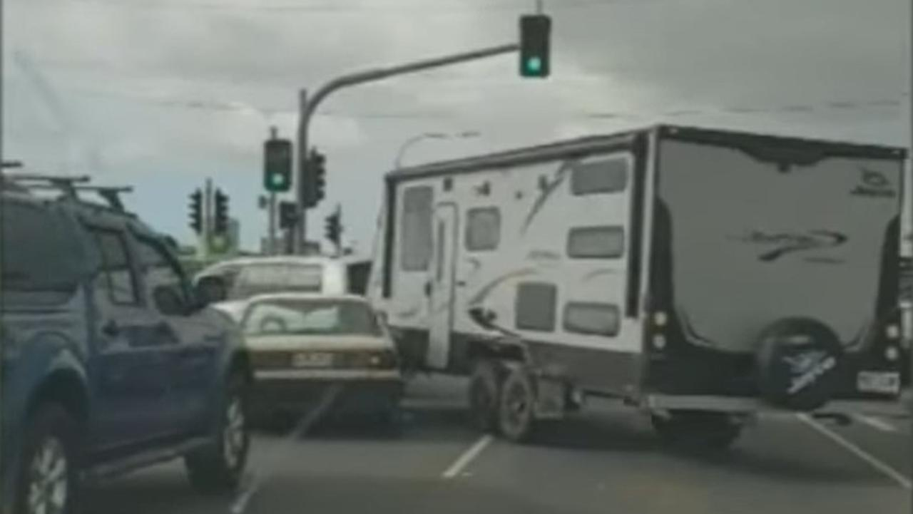 The moment a road rage incident on a Bundaberg intersection escalates. Picture: Nine News.