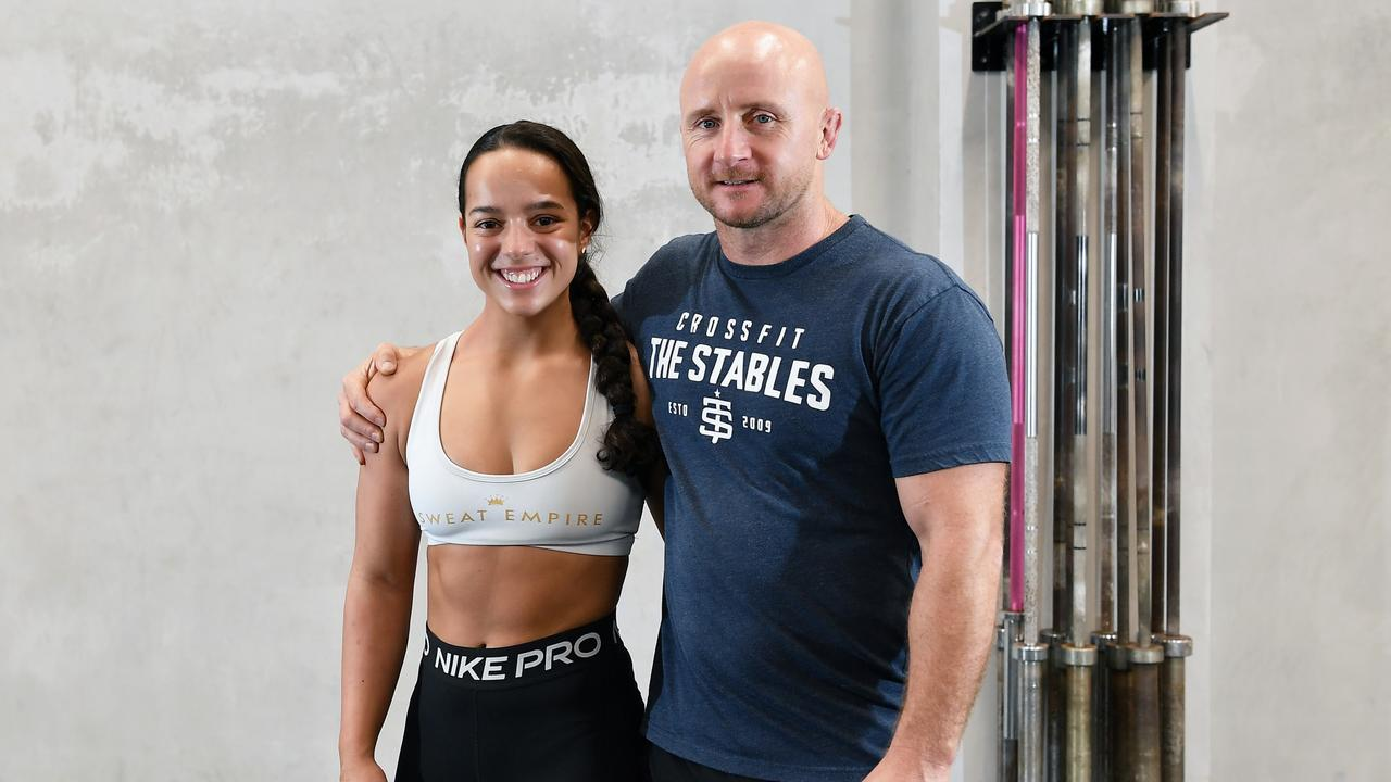 Tayla Stephens with CrossFit The Stables trainer Josh Bromley. Patrick Woods