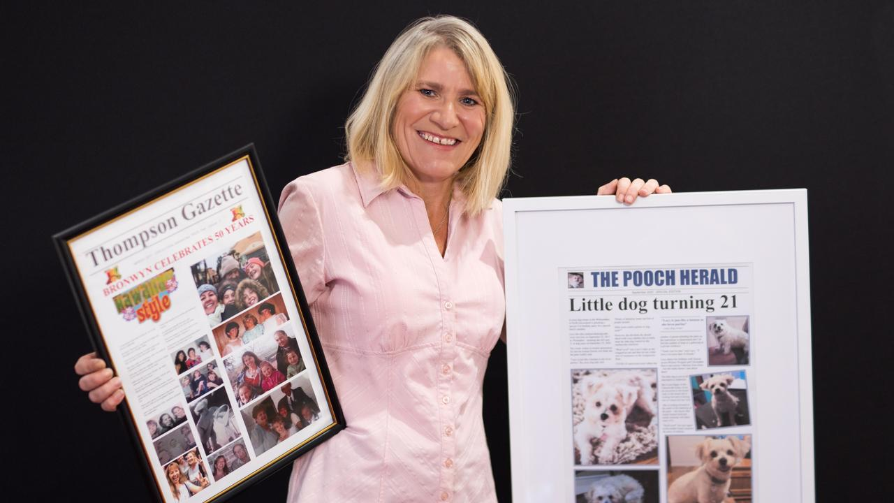 Former Whitsunday Times editor Leanne Abernethy has started her own business called Front Page Gifts offering mock front pages of newspapers for special occasions. Photo: Tropix Photography