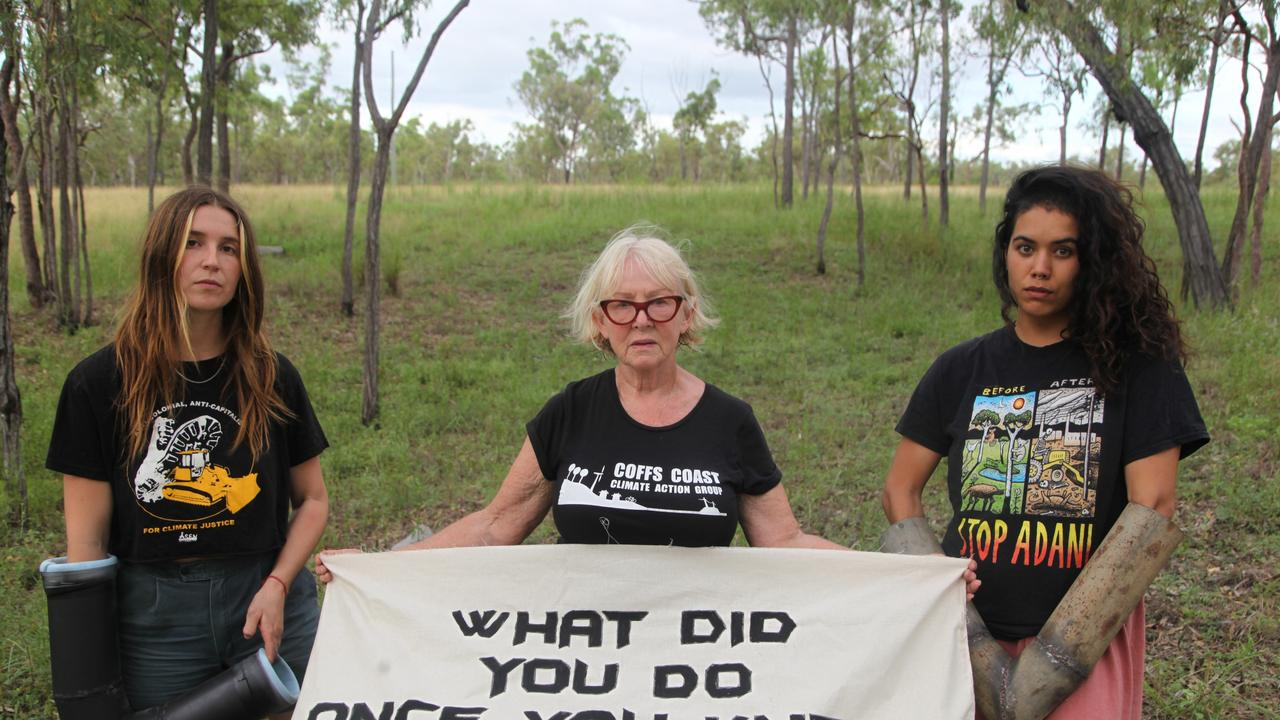 Frontline Action on Coal protesters at the Carmichael rail construction site. Picture: FLAC