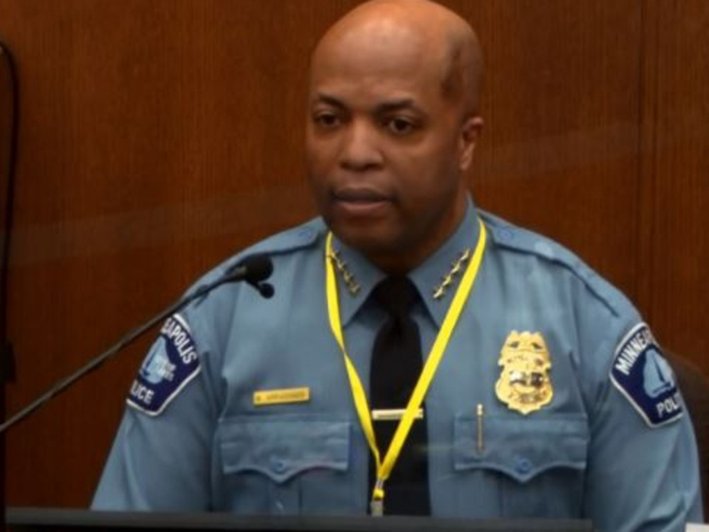 Minneapolis Police Chief Medaria Arradondo testifies for the prosecution at the trial of Derek Chauvin. Picture: Supplied