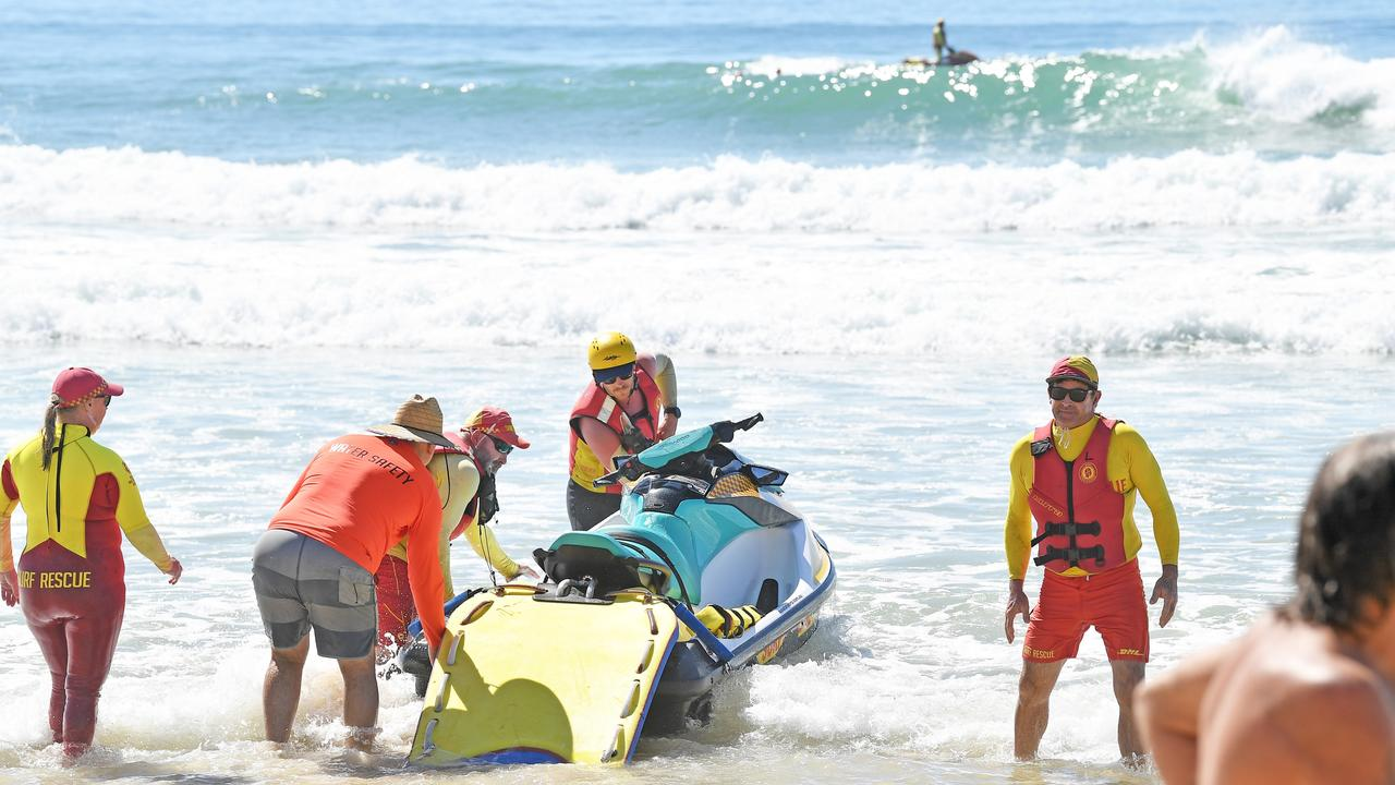 The search for a swimmer who was taken out by a rip at Coolum ends in tragedy. Picture: Patrick Woods.