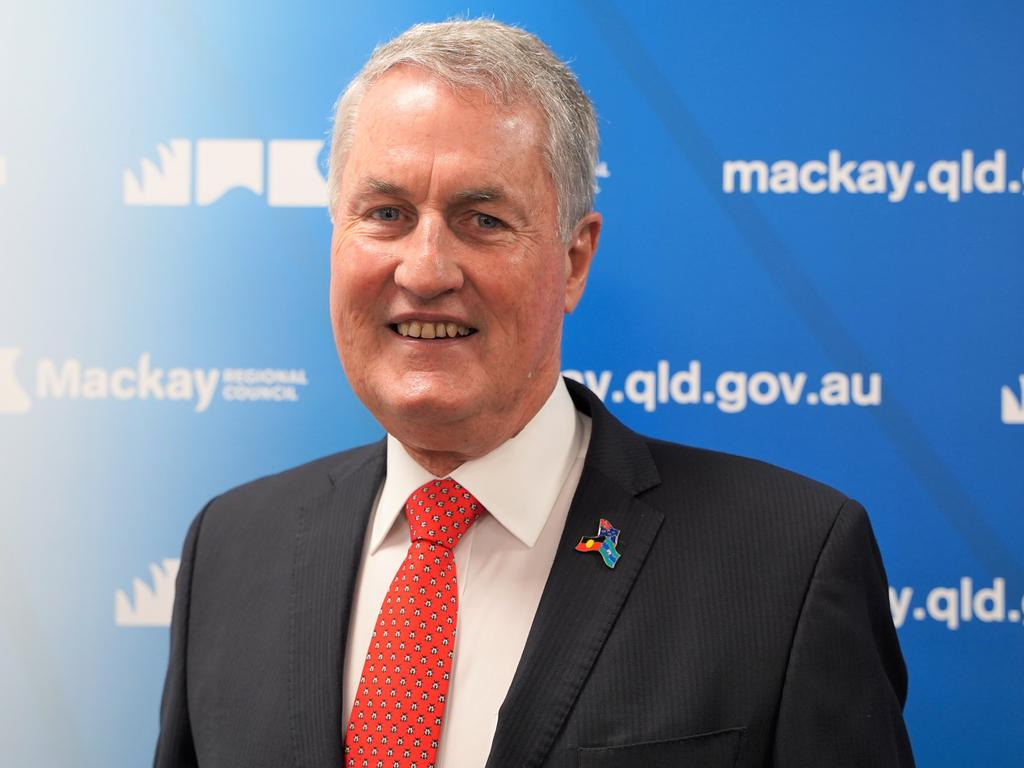Mackay Regional Council Mayor Greg Williamson speaking after the council meeting on Wednesday, February 10, 2021. Picture: Heidi Petith