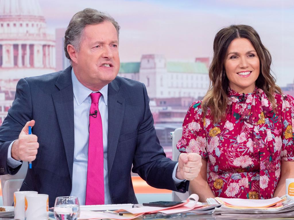 Piers Morgan, left, on the set of his former TV show, Good Morning Britain.