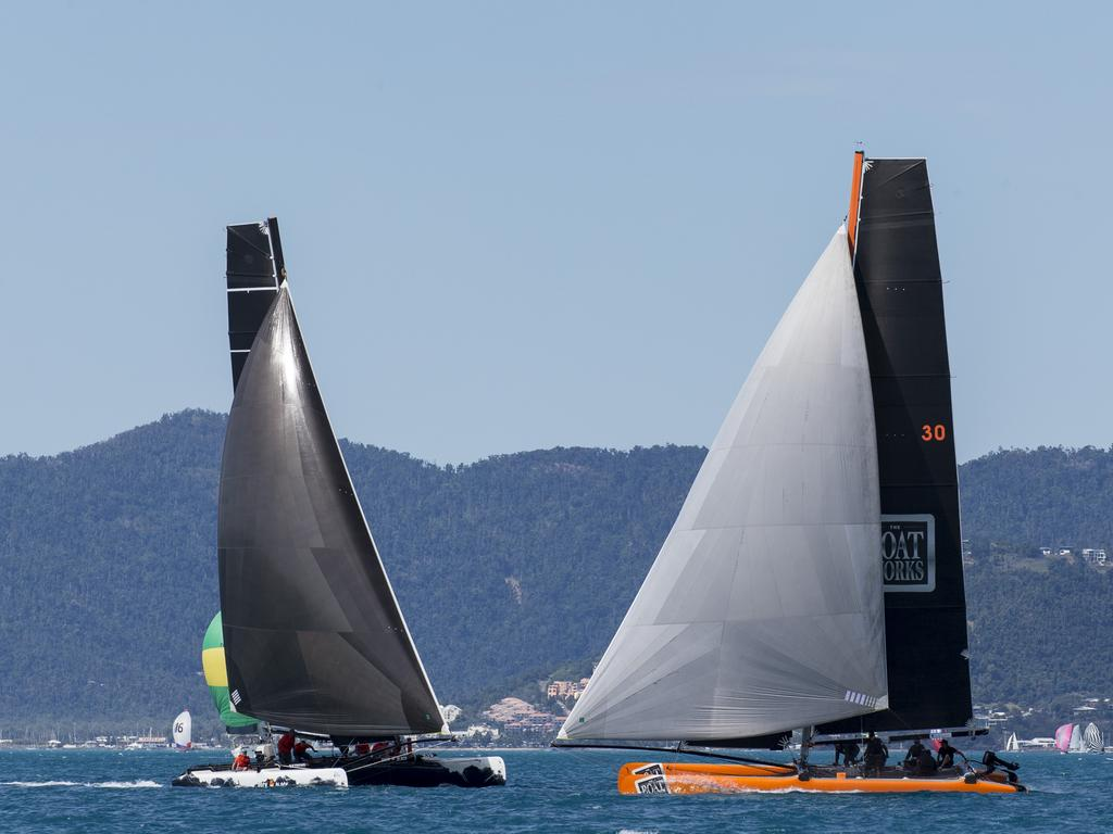 Back in Black and The Boatworks go head to head at Airlie Beach Race Week 2019. Picture: Andrea Francolini